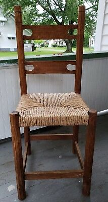 """Antique Rush Seat Wooden Hand Made Carved Ladder Back Chair H36""""x W14 3/8"""""""
