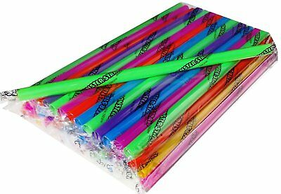 "Super-Long Smoothie Straws-1/2"" Wide! Assorted Neon! Bag of 35. 10 1/2"" Long! -"