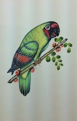 """10"""" x 7"""" Vintage Bird Scene Matted Painting Old Leaf Paper 556"""