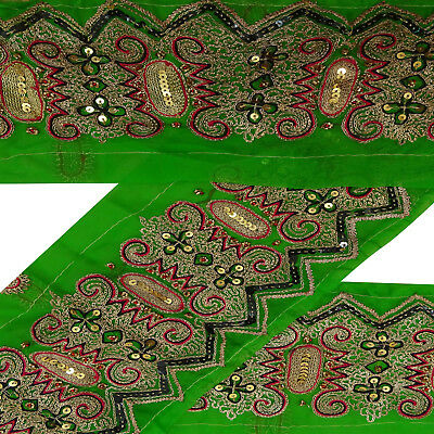 Vintage Indian Embroidered Green Sari Border Antique Used Trim Sewing Ribbon