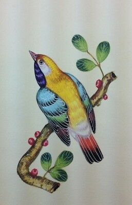 """10"""" x 7"""" Vintage Bird Scene Matted Painting Old Leaf Paper 558"""