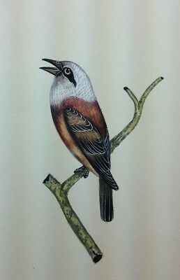 """10"""" x 7"""" Vintage Bird Scene Matted Painting Old Leaf Paper 560"""