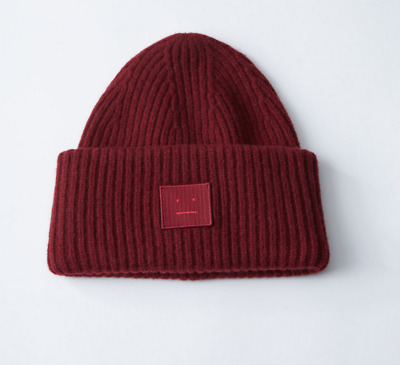 Wine red acne studios wool cap winter warm wool knit hat with packaging ACNE 032