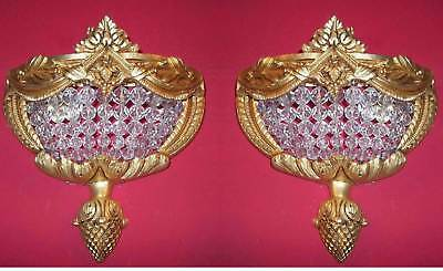 Pair Hand Beaded Antique Replica Crystal Chains Brass PETITE Ornate Wall Sconces