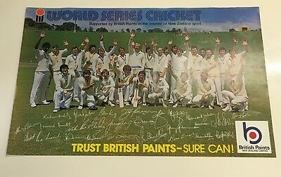 Rare 1970's World Series Cricket Poster From British Paints New Zealand
