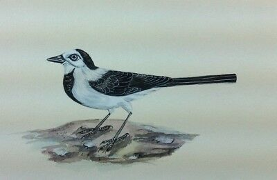 """7"""" x 10"""" Antique Bird Scene Matted Painting Old Leaf Paper 567"""