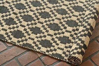 Taluche Handmade 200 cm Long Beige/Black All Over Geometric Pattern Runner Rug