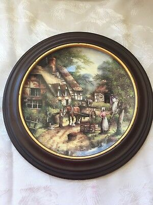 Wedgwood Collectors Plate The Apple Pickers 1991 Issue Country Days-Wood Mount