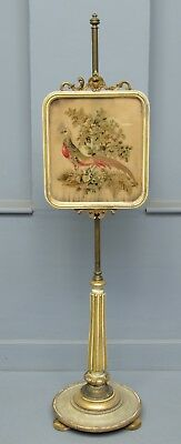 Regency Parcel Gilt Tapestry Pole Fire Screen