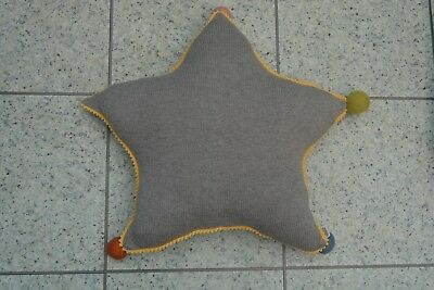 NEW Mamas and Papas Grey Knitted Star Pom Pom Nursery Cushion