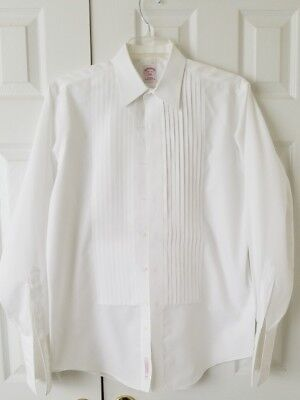 Men's Brooks Brothers Pleated Tuxedo Shirt Traditional Fit 15.5/35 French Cuff