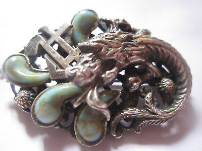 Classic Czech Neiger Brothers Chinese turquoise, silver dragon brooch