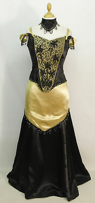 Victorian Black & Gold with Jet Evening Dress