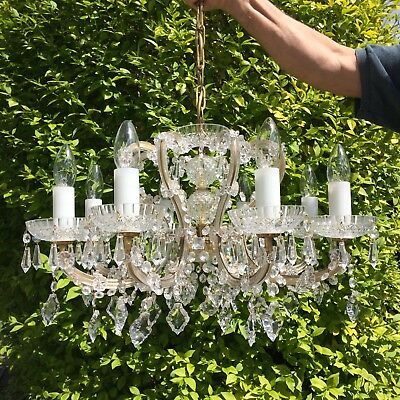 Stunning French Cage Vintage Chandelier 8 Arms High Quality Lead Crystals