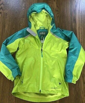 L.L. Bean Girls Fleece Lined Rain Jacket Coat EUC Size M 10-12
