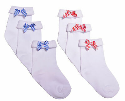Girls Bow Ankle Socks 3 Pairs School Socks Red Bow Blue Bow Socks White