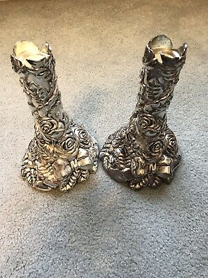Silver Sentiments Real Silver Antique Candlestick Holders