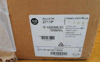 New Allen Bradley PanelView Plus 1500 2711P-B15C15D6 WITH 2711P-RP6 & RN15S