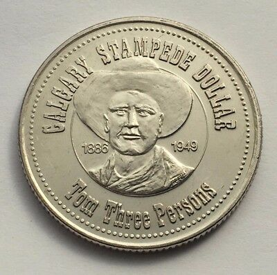 1985 Canada Calgary Stampede Dollar Token Coin Tom Three Persons Bucking Broncs