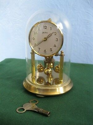 Bentima Glass Dome Mechanical Anniversary Clock, Globe Pendulum, A/f For Repair.
