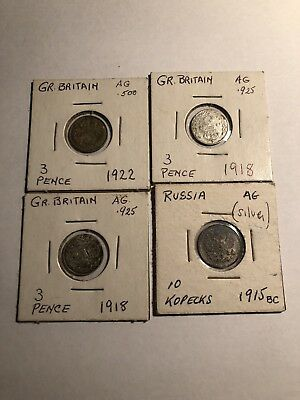 Four Total Foreign Silver Coin Lot 3 Pence And Russia Kopecks