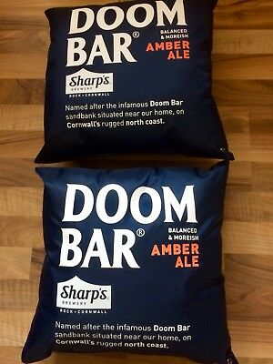 SHARP'S DOOMBAR OUTDOOR CUSHIONS x2, BLUE WITH LOGOS, BRAND NEW, LOOK@£5.00!
