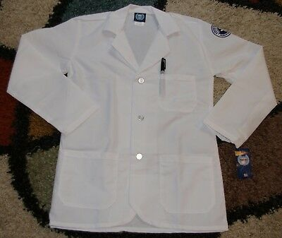 "GelScrubs Pharmacy L/S Lab Coat 3 Pocket 29"" Length Embroidery White Size XS"