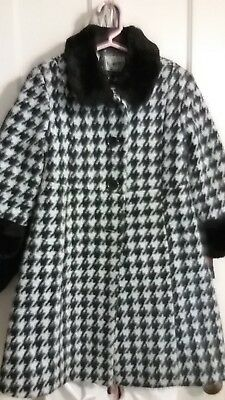 ROTHSCHILD Girls Sz Black and White Houndstooth Dress Coat