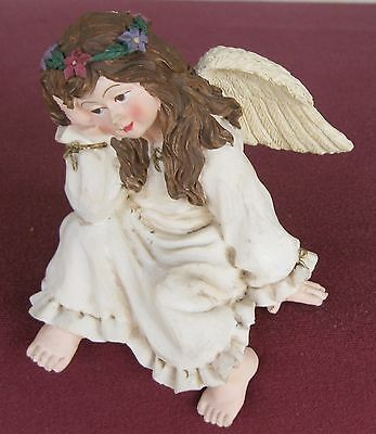 Angel Figurine By Sterling, Inc. Sits on a Ledge Flowered Head Piece ~ FAST SHIP