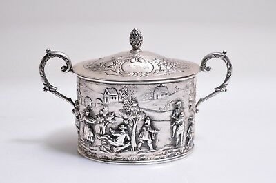 German Sterling Silver Repousse Snuff Tea Caddy Hallmarks
