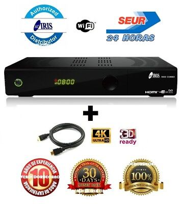 Receptor Satelite Iris 9800 Hd Combo Wifi H265 + Cable Hdmi 4K + Factura + 24H