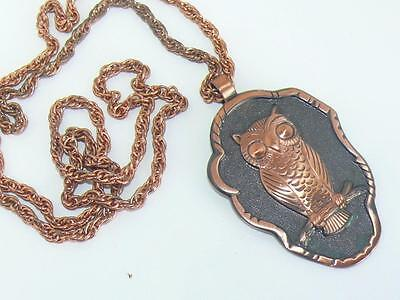 """Large Vintage Solid Copper Owl Pendant and Double Link Chain 29"""""""