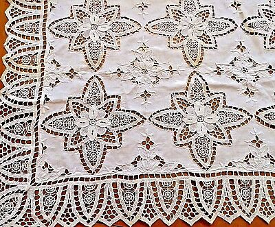 Antique Lace Tablecloth Linen White Embroidered Needle lace Reticella Pinwheel