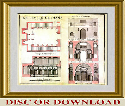 ANTIQUE ARCHITECTURAL DRAWINGS 166 High Resolution Printmaking Images Collection