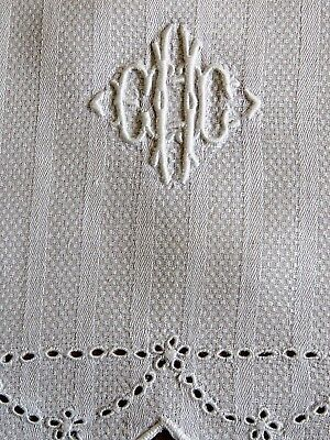 Antique Towel Hand Guest Damask Linen White Embroidered Monogram E H C Huck