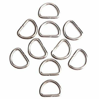 4X(10Pcs D-Rings Buckles Clips Non Welded Sport Webbing Leather Craft 15Mm N7U7