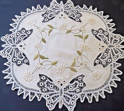 Antique Embroidered Doily Linen Table Cloth Cover Centerpiece Arts and Crafts