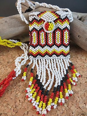 Estate Find Vintage Native American Beaded Coin Purse Pouch White Red Black
