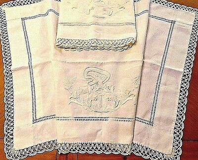 Vintage Pillow Cover Shams Pillowcases Italian Embroidered SOGNI FELICI Cotton