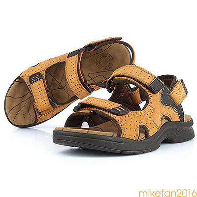 Men Genuine Leather Fisherman Beach Summer Sports Sandals Waterproof Shoes Hot Q
