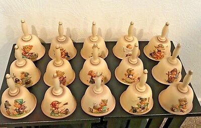 Goebel Hummel Annual Bells 1978-1992 with original boxes, 15 count