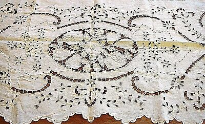 Fireplace Mantle Scarf Antique Table Runner French Cutwork Linen Shelf Cover