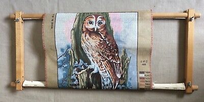 DMC 1999 printed tapestry canvas OWL already attached to a frame