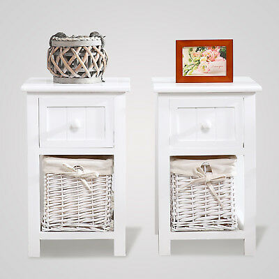 A Pair of Wooden Bedside Cabinet Shabby Chic Table Unit with Wicker Basket