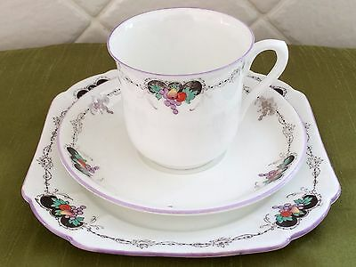 """Gorgeous vintage SHELLEY Bone China """"Bunch of Fruit"""" Teacup Trio"""
