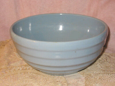 Vtg McCoy USA Pottery Blue Beehive Ribbed Ringed Yelloware Pottery Mixing Bowl