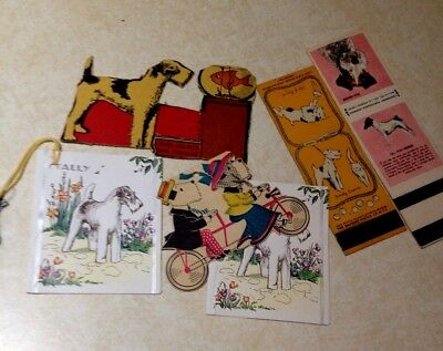 Vintage Wire Fox Terrier Dog Lot - Tally - Matchbooks - Cereal Cut-out