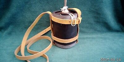 British 1871 Pattern Wooden Water Bottle with Natural Tan Buff Leather Carrier.