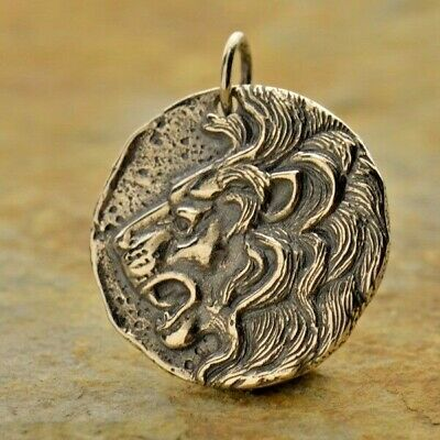 925 Sterling Silver Lion Head Ancient Coin Replica Greek Pendant Necklace 1108