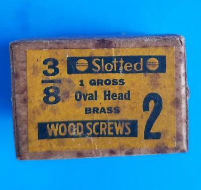 """130 Vintage #2 -- 3/8"""" Oval Head Brass Slotted Wood Screws NOS Box"""